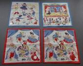 Vintage Mavir Zürich - Lot of Four Swiss Matching Children Cotton Hankies Handkerchiefs