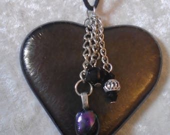 Large hand crafted large glass heart pendant on a black cord chain necklace in irridescent charcoal