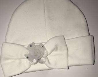 Baby Hat with Bow! White hat with pretty white flower in bow. Great Gift. Keepsake and Coming home hat