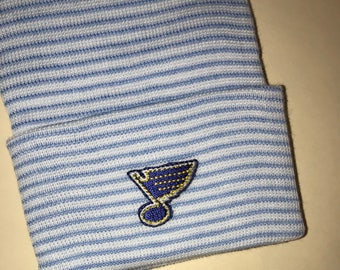 Newborn Hospital Hat. ST LOUIS BLUES Applique Beanie.  Choice of Hat Color!  1st Keepsake! Great Gift. Great Part Of Going Home Outfit!