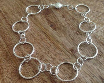 Handcrafted Circles Sterling Silver Choker Necklace, Circle Necklace, Choker Necklace, Silver Jewellery, Round Necklace, Silver Jewellery