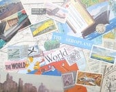 Vintage travel paper ephemera craft kit: 35 mixed pieces including die cuts, titles, maps. Craft pack for scrapbooks, travel journal EP605