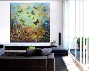 ON SALE Original painting art butterflies abstract modern wall design canvas one of a kind artwork abstract landscape deep texture free ship