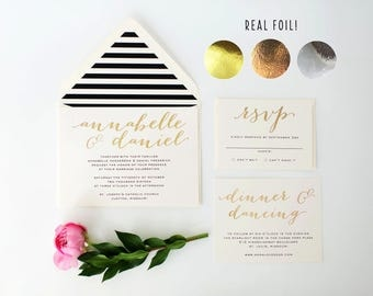 annabelle gold foil wedding invitation sample // rose gold foil / silver foil / black white stripes / modern / calligraphy / custom / invite