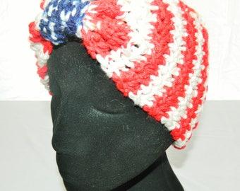 Crocheted Patriotic American Cinched Bow Style Headband Ear Warmer