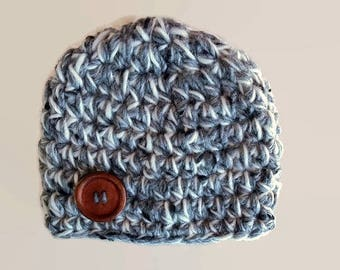 Crochet baby hat, newborn boy hat, baby boy hat, newborn boy beanie, newborn photo prop,  button baby hat,  baby boy outfit