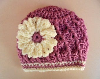 Newborn girl hat, baby girl hat, girl hospital hat, mauve baby hat, newborn girl outfit, crochet baby hat