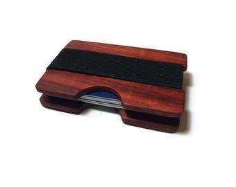 Handmade Padauk Wood Wallet, Minimal Wallet, Credit Card Holder, Personalized Wallet