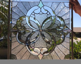 "The Incredible!! ""Pacifica"" All Clear Beveled Cluster Stained Glass Window  (we do custom work, email me for quote)"