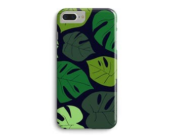 Green Navy Palm Leaves Phone Case, Tropical Monstera 3D Phone Case iPhone 7 Plus iPhone 6 6S Plus iPhone 5 5S Galaxy S7 Edge S6 Edge S5 Case