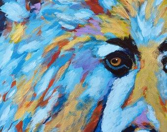 Bear Print, Bear Art Print, Abstract Impressionism Bear Art, Cabin Decor, Home Decor, Wall Art, Namekagon Bear, Giclee Bear Print