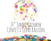 "24"" Large Rainbow Confetti Balloon, Rainbow Tissue Confetti Filled Clear Latex Balloon, Party Decoration, Wedding, Birthday, Photo Prop"