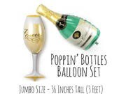 "36"" Champagne Bottle, Champagne Glass Balloon Set, Cheers Balloon, 21st Birthday Party, Anniversary, Engagement, Congratulations, Photo Prop"