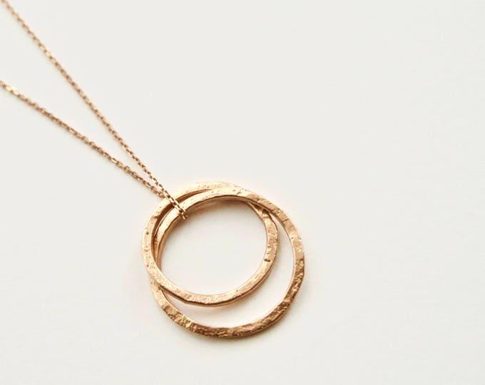 Rose Gold Circles Pendant - 9 Carat Gold - Hammered Organic Texture