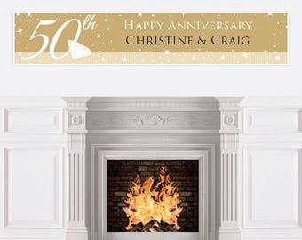 50th Wedding Anniversary Banner - Anniversary Party Decorations - 50th Anniversary Decoration - Golden Anniversary Personalized Banner