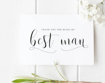 Best Man Thank You Card, Thank You For Being My Best Man, Groomsman Thank You Card, Wedding Thank You Card
