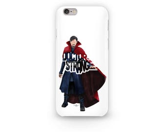 "Doctor Strange Phone Case Typography Design from the Marvel Universe with his name, ""Doctor Strange"" in Red and Blue i-Phone Case"