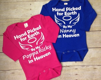 Hand Picked for Earth Bodysuit / Onepiece / Romper Angel Wings Baby / Heaven sent baby