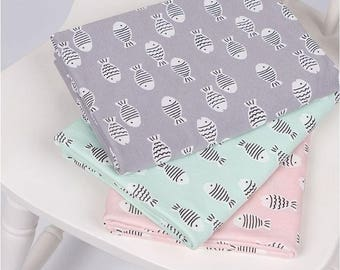 "Fish Pattern Single Cotton Stretchy Knit Fabric / 140 cm (55"") Width - 3 Colors Selection"