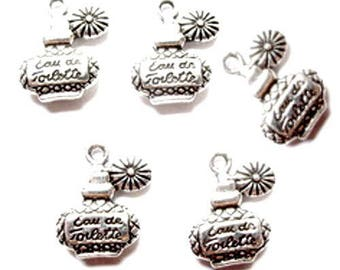 Pack of 6 charms in silver perfume bottle