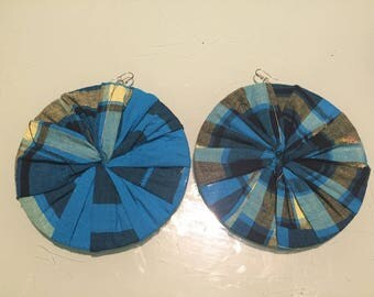 Earring collection blue madras fabric Disc Earring for women and teens single model