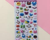 3D Animal Faces Stickers - Kawaii Stickers