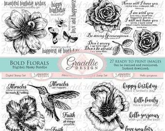 15% OFF - Bold Florals Digital Stamp Bundle