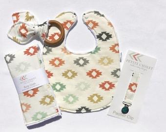 Modern Baby Bib, Burp Cloth, Teether, and Paci Clip Set - Aztec Print Baby Gift Set - Ready to Ship Baby Shower Gift Set -Handmade Baby Gift