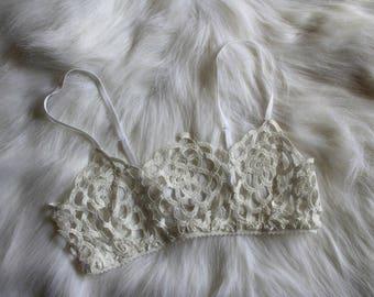 Handmade White Lace Bralette