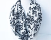 Black & Cream Lightweight Scarf, Floral Infinity Scarf, Graphic Print Scarf, Spring Infinity Scarf For Woman Damask