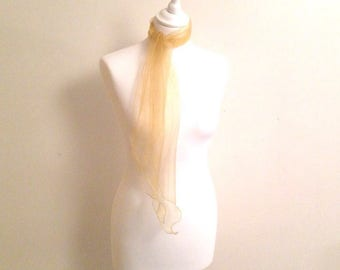 Scarf organza gold/gold 21/150 cm wedding cocktail evening