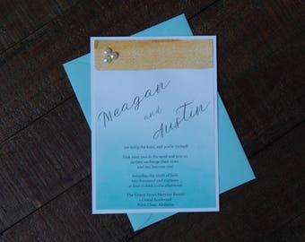 Beach Wedding Invitation, Ocean Wedding Invitation, Nautical Wedding Invitation, Ombre Wedding Invitation, Blue Wedding Invitation