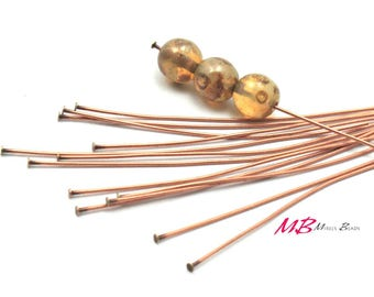 144 Antique Copper Head Pins, 24 Gauge, 2 Inches