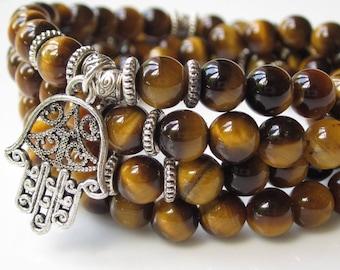 108 Mala, wrist mala bracelet UK, Tigers Eye jewellery, wrap bracelet, meditation bracelet necklace, Buddhist jewellery UK,