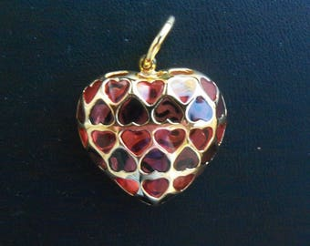 Vintage 18K Yellow Gold Puffy Amber Heart Shaped Pendant from Italy