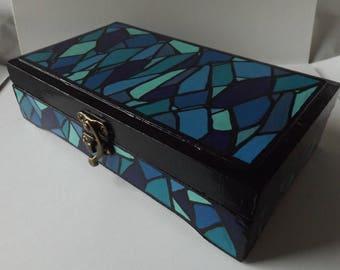 Hand-painted Keepsake Box | Stained Glass Patterns | Art Box | Tool Box | Painted Box | Geometric Design