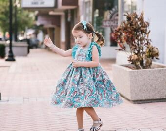 Summer Dress, Paisley Dress, Aqua and Coral, Baby Girl Dress, Toddler Dress, Little Girl Dress, Sizes 3/6mths-Girls 9/10