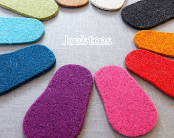 Baby Soles -  Thick Felt Soles for Bootees, Slippers and Socks all made in England by Joe's Toes