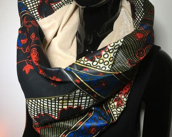 scarf tube infinity in african wax fabric