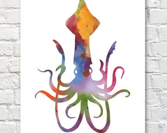 Squid Art Print - Abstract Watercolor Painting - Wall Decor