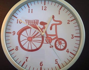 clock wall child bicycle pattern pink