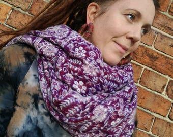 Purple Fleece Acrylic Wrap Shawl Blanket Scarf
