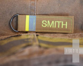 Firefighter Fabric Key Fob / Keychain made from Turnout Gear Fabric
