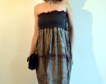 long dress in silk grey