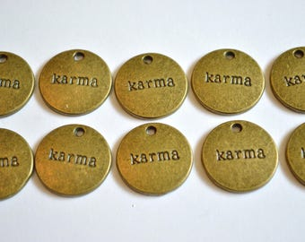 10 x Karma Charms ~ Antique Bronze ~ Lead and Nickel Free