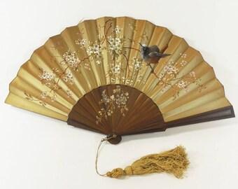 Antique Folding Hand Fan Hand-Painted Silk & Wood, Bird Branches 1880s Paris