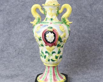 Antique Maruhon Ware Japanese Majolica Lidded Urn Decanter