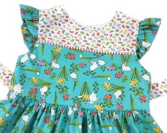 Toddler dress, party dress, spring floral dress, girls sun dress, easter dress, toddler outfit, bunnies and flowers, little girls dress
