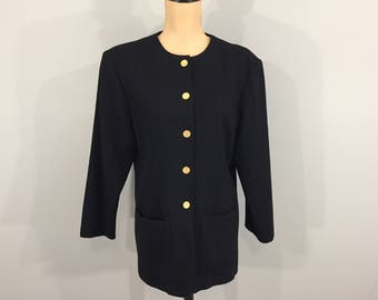 Womens Wool Jacket Blazer Long Jacket Long Blazer 1980s Winter Suit Jacket Collarless Sag Harbor Size 11/12 Medium Womens Vintage Clothing
