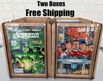 2 Comic Book Storage and Display Boxes with Free Priority Shipping Great Gift for a Dad, Brother,Boy Friend any Guy or as Secret Santa gift